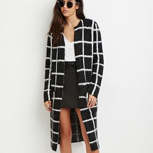 Grid-patterned Longline Cardigan